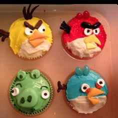 Angry Bird cupcakes- Frosting, Food Coloring, Cupcake Mix, Sweet Tarts, Icing, Jelly Beans, etc.