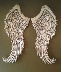 Rustic Wood Angels | Wooden Angel Wings Wall Decor | Large Rustic Angel Wings Distressed ...