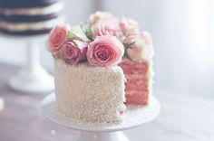 Textured Wedding Cakes with Fresh Flowers | Here is another cake covered in silver sugar flakes, so simple, but ...