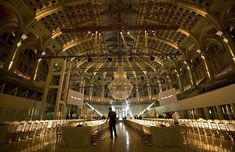 Oval Hall at Palau National, Barcelona Stage Design, Event Design, Barcelona Fashion, Cat Walk, Event Decor, Fashion Show, Chandelier, Ceiling Lights, Museums