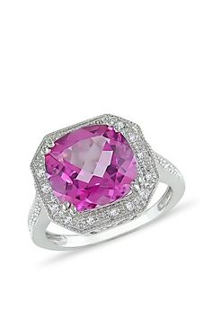 Sofia B 10K White Gold Prong Set Faceted Cushion Pink Topaz & Diamond Octagon Ring on HauteLook