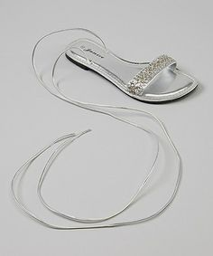 Look at this #zulilyfind! Silver Chanel Ankle-Strap Sandal #zulilyfinds