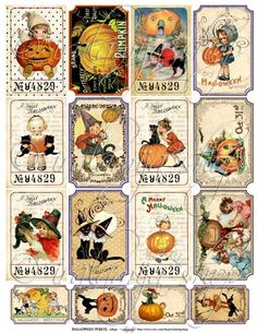 Etsy の HALLOWEEN TICKETS Collage Digital Images by iralamijashop