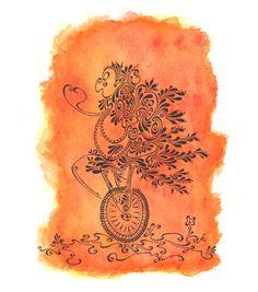 monocycle en larmes d'encres dessin au trait et aquarelle par TillyfoO ❤❤❤❤❤❤