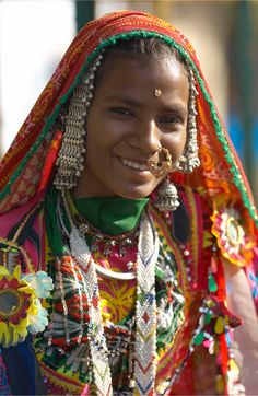 India | Portrait of a tribal woman in Rajasthan | Photographer unknown.