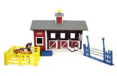 NEW! Kids Toy Stable Set Horses Toys Farm Barn Pretend Play US