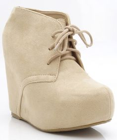 Soda Pager-S Lace Up Almond Toe Platform Ankle Wedge Bootie OATMEAL BEIGE