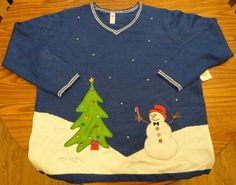 Christmas Sweater Plus Sz 2X Blue with Pearls Snowman Tree NWT (18/20) Woman's #HolidayTime #VNeck