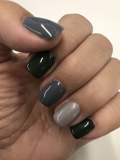 Multi-colored nails for Winter:  Evergreen, dark gray and shimmery silvers - manicure by Wendy