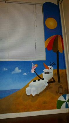 Olaf summer time wall mural from Frozen.