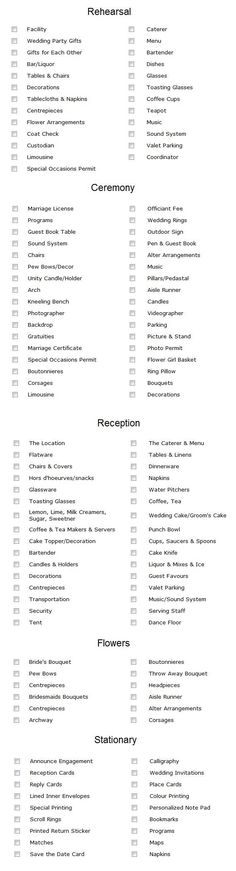 Decoration list - Best one I've seen so far. We can alter a few of the items to better suite what you're having.