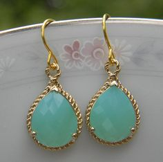 Mint Pacific Opal Gold Earrings Bridesmaid by Greenperidot on Etsy, $26.50