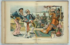 """Commerce vs. conquest"" Print shows John Bull labeled ""England"" holding a ship labeled ""Trade"", with Uncle Sam, also holding a ship labeled ""Trade"", behind him, as they stand before the Chinese Emperor who is frightened by William II holding a sword labeled ""Germany"", ""France"" holding a rifle, and Nicholas II holding two pistols labeled ""Russia"". J.S. Pughe, Puck magazine, 1899"