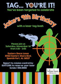 ~ See store header for current turn around times before ordering ~ Tag Youre It! This colorful and fun invitation is perfect for Laser Tag