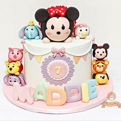 #tsumtsumcake for Maddie's #birthday #tsumtsum #minniemouse #cute #birthdaycake…