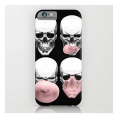 Skulls Chewing Bubblegum iPhone & iPod Case ($35) ❤ liked on Polyvore featuring accessories, tech accessories, phone case and iphone & ipod cases