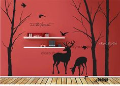 Lovely Deer Forest  Vinyl wall sticker  wall decal tree decals  wall murals art  nursery wall decals- animal Nature- Fall birds