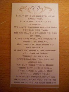 25 money request/ wishing well/ wedding day gift poem cards | eBay