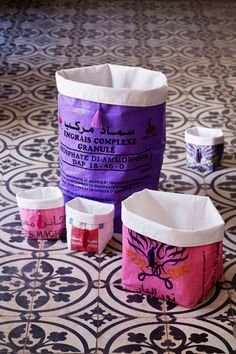 Up-Cycled Storage Bins by Kif Kif (from old flour & wheat bags in Morocco)