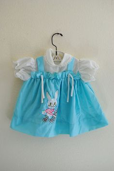 vintage girl blue bunny dress by 3RingCircus on Etsy
