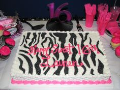 Pink+Zebra+Birthday+Cake | Birthday Cake with Zebra and Hot Pink Photo
