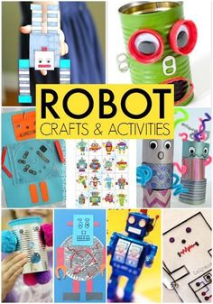 Robot crafts and activities for kids, perfect for a take home family activity for school.