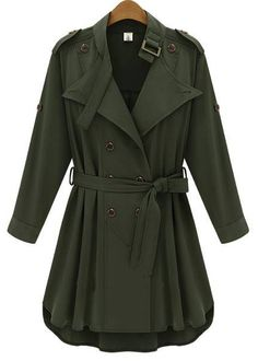 Army Green Long Sleeve Epaulet Belt Trench Coat - Sheinside.com