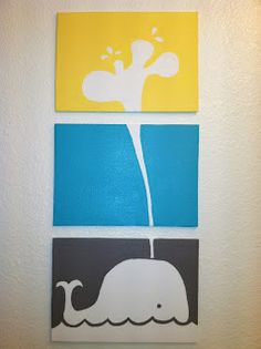 Rebecca's Round Up: Pinned & Tried: Triple Canvas Whale Art {low cost project}
