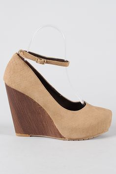 """Nude """"snakeskin"""" wedges, these too"""