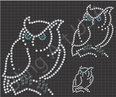 Rhinestone Owl Files Template Animals Art Birds SVG PLT EPS PDF Fly Stone Stencil