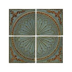 Shop for Imax Corporation Blue Quarter Medallion Set Of 4 Wall Panels, and other Accessories at Discovery Furniture. Embossed rustic metal medallion wall decor panels set of four. Iron Wall Art, Iron Wall Decor, Wall Decor Set, Panel Wall Art, Wall Art Sets, Metal Wall Art, Metal Artwork, Decor Room, Josie Loves