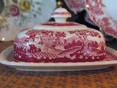 Red Transferware Butter dish