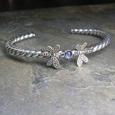 Sterling silver dragonfly cuff bracelet twist by LavenderCottage