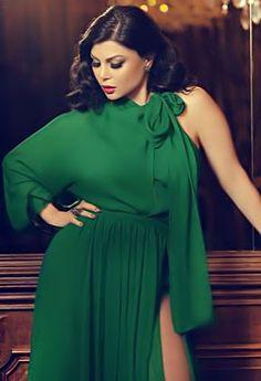 Haifa wehbe in an amazing green dress