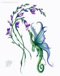 Image result for dragon and flower tattoo