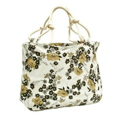 Flower Canvas Bag with Rope Handle (Beige)