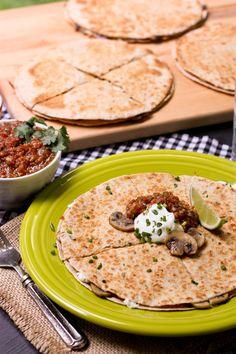 Cheesy Mushroom and Herb Quesadillas: A new weeknight staple. #KitchnConvo @Brenda Myers Myers Myers Score | a farmgirls dabbles