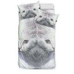 Turkish Angora Cat Print Bedding Set - Red Dog Pet Supplies Turkish Angora Cat, Angora Cats, Animal Print Bedding, Exotic Cats, Red Dog, Pillow Inserts, Bed Sheets, Bedding Sets, Pet Supplies