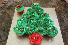 Christmas tree made with cupcakes