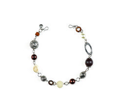 """Milano- 23"""" Coconut shell beads and hoops mix with glass pearls and multi-dimensional, antique silver accents for a classy, yet intriguing choker or bracelet. Combine it with the Rome necklace to create an alluring layered belt or necklace. $39 #milano #yourstylemialisia"""