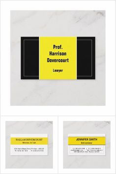 Business card designs featuring the color yellow. Business Card Design, Business Cards, Company Logo, Collections, Lipsense Business Cards, Name Cards, Visit Cards