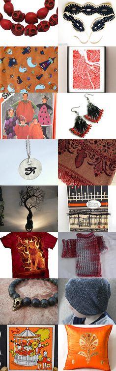 SPOOKTACULAR by Suzy Bell on Etsy--Pinned with TreasuryPin.com #etsy #treasury #fall #fallcolors #autumn #gifts #handmade #decor #homedecor #feoteam #unisextshirt #fabric #knitgloves #halloween #earrings #jewelry #citymap #crochet #pattern #wiretree #supplies