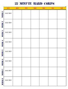 22 Minute Hard Corps Workout Sheets | freesub4 com