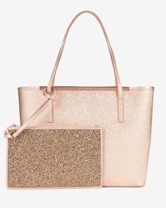 Large leather shopper bag - Rose Gold | Bags | Ted Baker