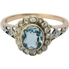 Antique Victorian diamond and Aquamarine ring 18 k yellow gold circa 1890s at rubylane.com #victorianjewelry