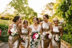 The most beautiful gold bridesmaids #goldbridesmaids  Photography by Cavanagh Photography.