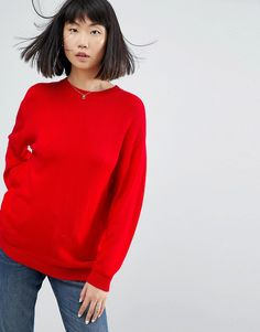 ASOS Oversized Sweater with Crew Neck - Red