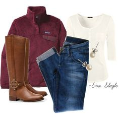 Patagonia pullover, tory burch boots, jeggins, pearls and a 3/4 lengths sleeve white shirt