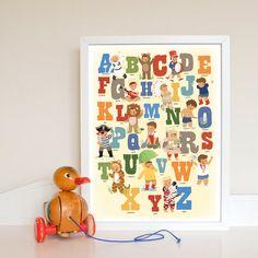 25 OFF Alphabet Poster Print for Boys. ABC Bedroom by kindygarden, Alphabet Birthday Parties, Alphabet Party, Cute Alphabet, Alphabet Print, Boy Birthday Parties, 2nd Birthday, Nursery Name Art, Nursery Decor, Nursery Ideas