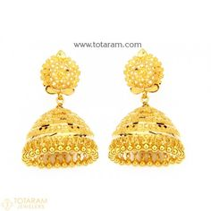 22K Gold Jhumkas - Gold Dangle Earrings  - 235-GJH1602 - Buy this Latest Indian Gold Jewelry Design in 17.250 Grams for a low price of  $1,004.25 Indian Gold Jewellery Design, Gold Temple Jewellery, Indian Jewelry, Gold Jewelry, Jewelry Design, Women Jewelry, Gold Chandelier Earrings, Gold Drop Earrings, Dangle Earrings
